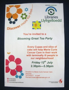 Invitation to a Blooming Great Tea Party, in aid of Marie Curie Cancer Care, at Pennard Library on 12July2013