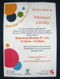 Welsh Classes at Pennard Library starting on 8July2013